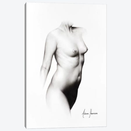 Nude Woman Charcoal Study 68 Canvas Print #VIN308} by Ashvin Harrison Canvas Artwork