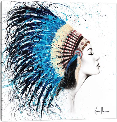 Her Feathers Canvas Art Print