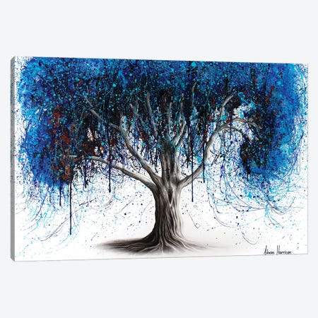 Blue Moonlight Tree 3-Piece Canvas #VIN411} by Ashvin Harrison Canvas Wall Art