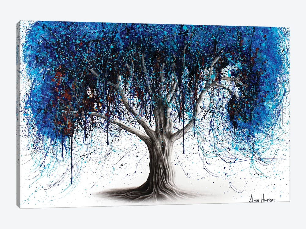 Blue Moonlight Tree by Ashvin Harrison 1-piece Canvas Print