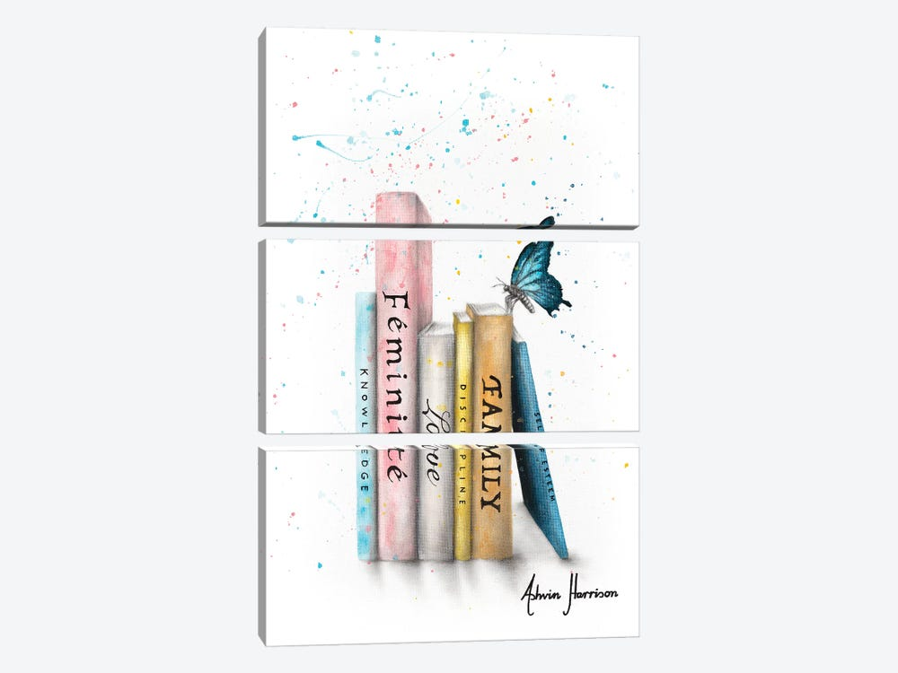 Books Of Her Journey by Ashvin Harrison 3-piece Canvas Wall Art