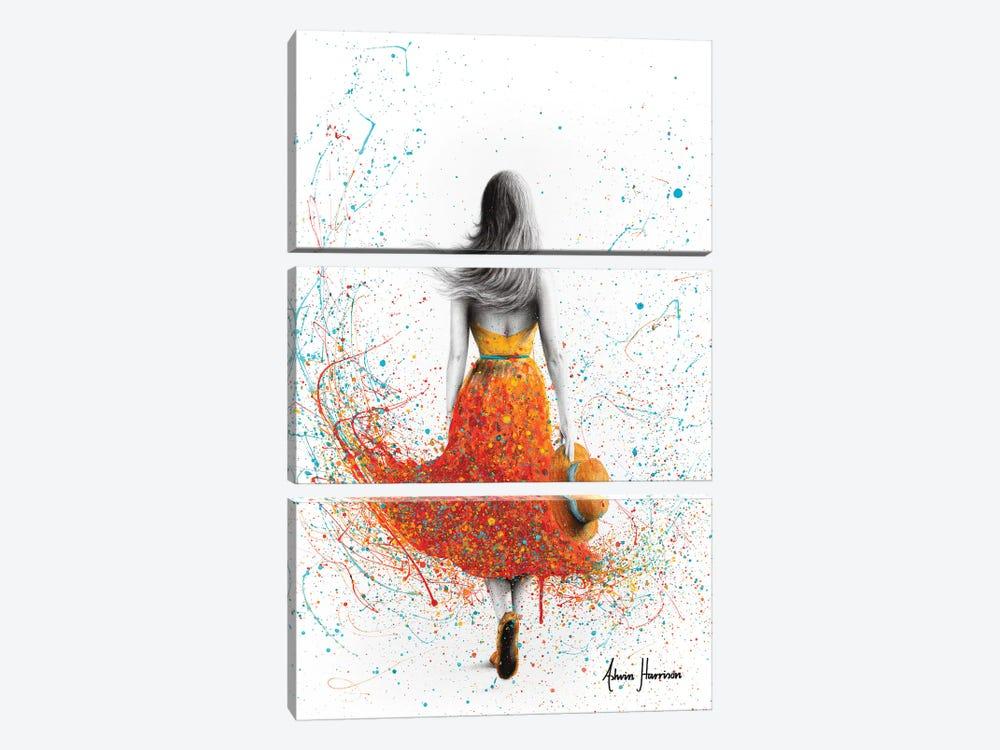 Her Sunset Walk by Ashvin Harrison 3-piece Canvas Print