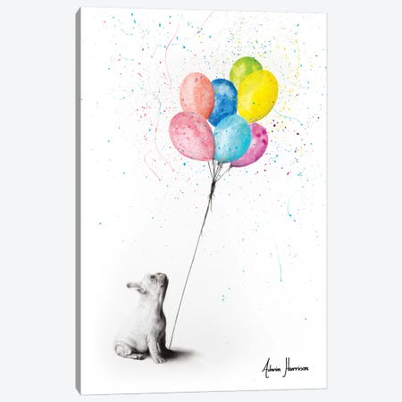 The French Bulldog And The Balloons Canvas Print #VIN437} by Ashvin Harrison Canvas Art Print