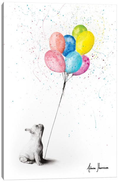 The French Bulldog And The Balloons Canvas Art Print