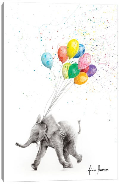 The Elephant And The Balloons Canvas Art Print