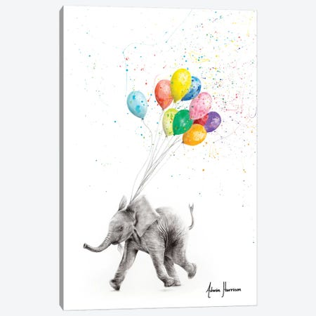 The Elephant And The Balloons Canvas Print #VIN440} by Ashvin Harrison Art Print