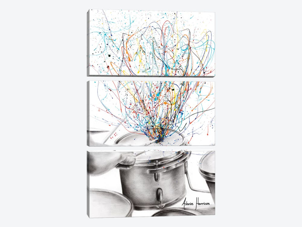 The Drum Solo by Ashvin Harrison 3-piece Canvas Wall Art