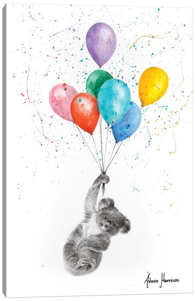 The Koala And The Balloons Canvas Art Print