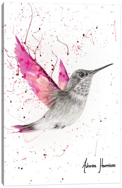 Magenta Rose Bird Canvas Art Print