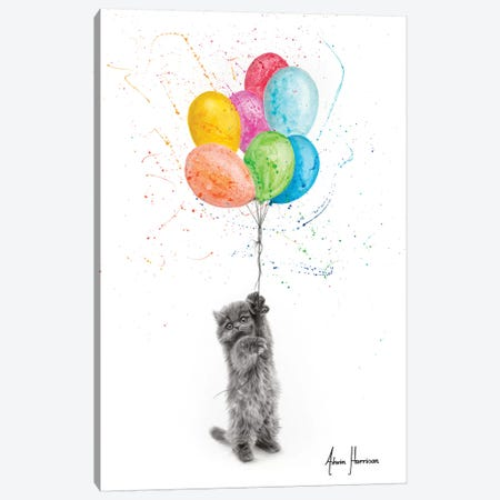 The Naughty Kitten And The Balloons Canvas Print #VIN490} by Ashvin Harrison Canvas Artwork