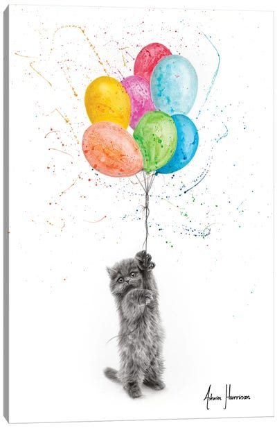 The Naughty Kitten And The Balloons Canvas Art Print