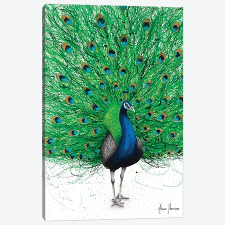 Prancing Peacock Canvas Print #VIN492} by Ashvin Harrison Canvas Wall Art