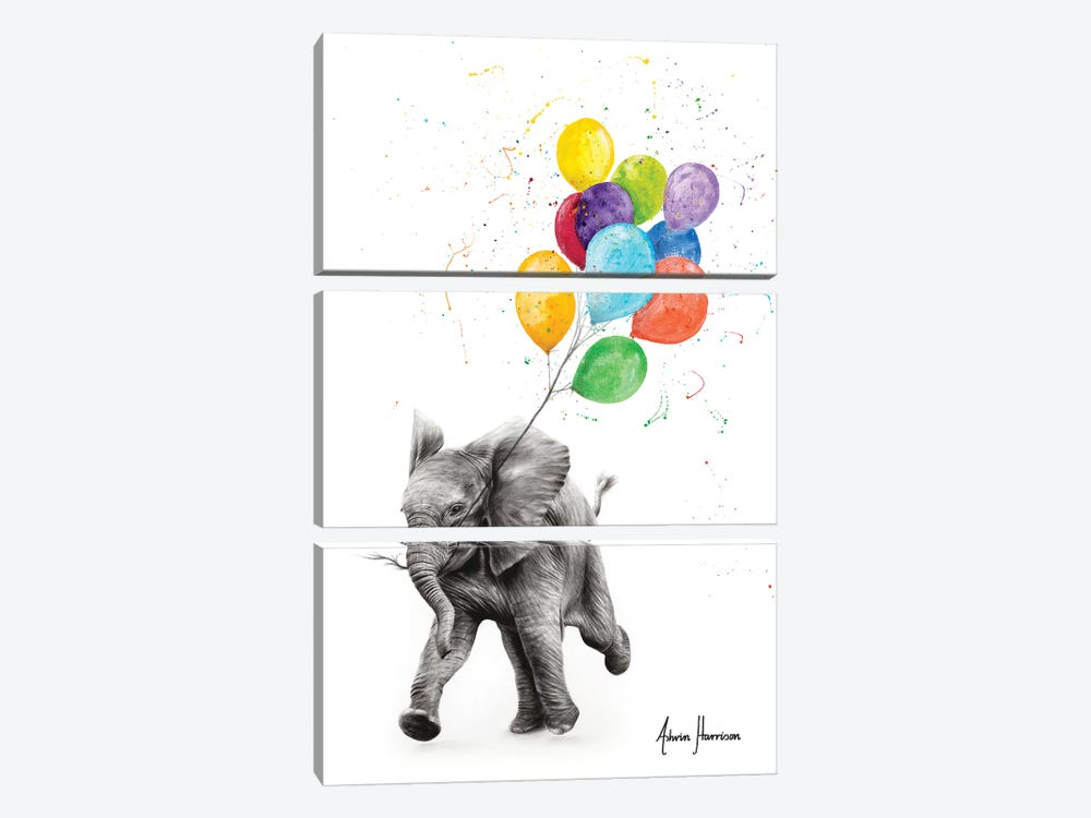 Elephant Freedom by Ashvin Harrison 3-piece Canvas Artwork