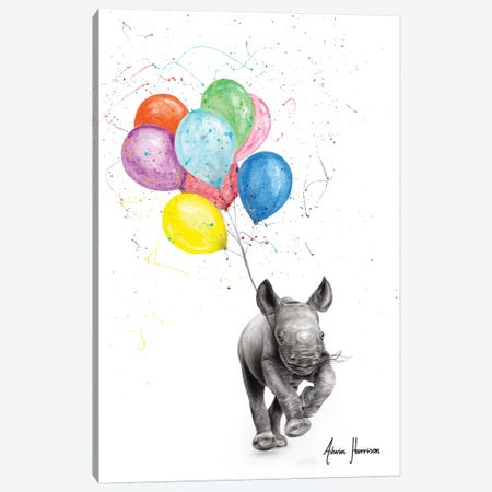 The Rhino And The Balloons Canvas Print #VIN496} by Ashvin Harrison Canvas Art Print