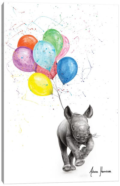 The Rhino And The Balloons Canvas Art Print
