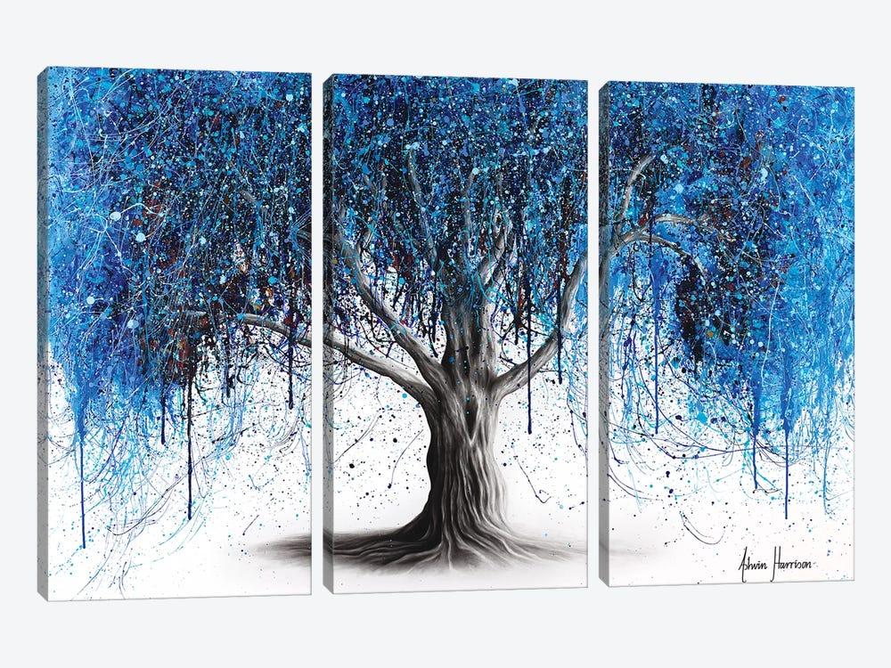Blue Midnight Tree by Ashvin Harrison 3-piece Canvas Print