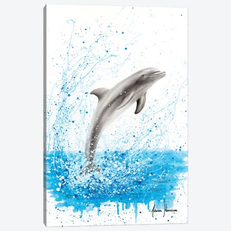 Dancing Dolphin Canvas Print #VIN499} by Ashvin Harrison Canvas Wall Art