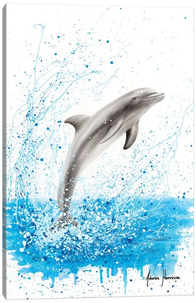 Dancing Dolphin Canvas Art Print