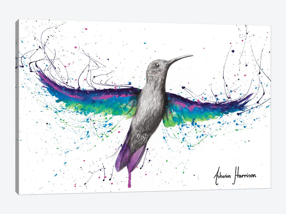 Garden Glow Hummingbird by Ashvin Harrison 1-piece Canvas Art Print