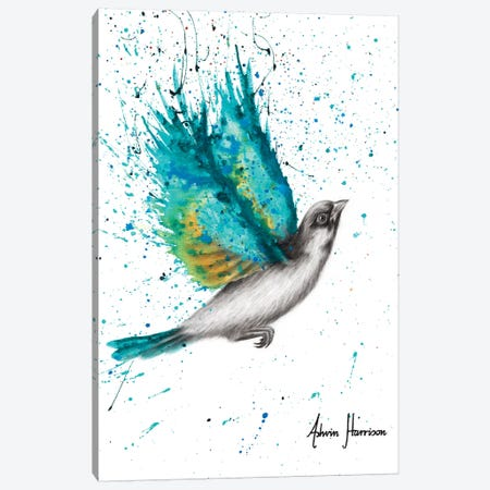 Turquoise Happiness 3-Piece Canvas #VIN535} by Ashvin Harrison Canvas Art