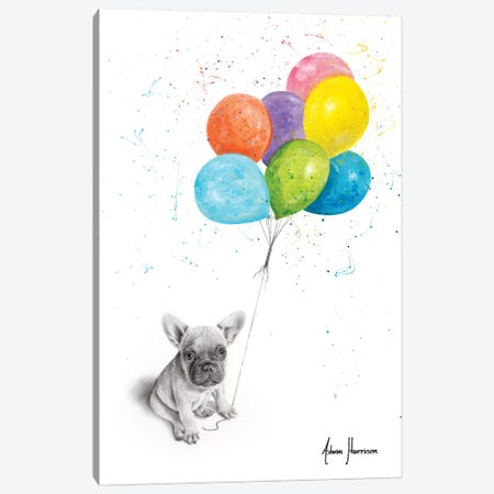 Little Frenchie And The Balloons Canvas Print #VIN537} by Ashvin Harrison Canvas Artwork