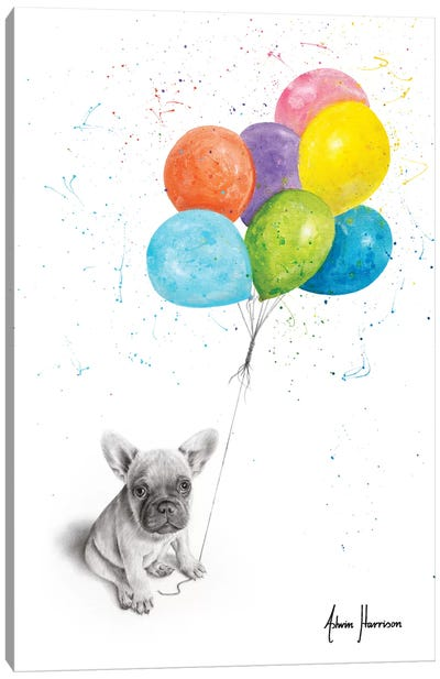 Little Frenchie And The Balloons Canvas Art Print
