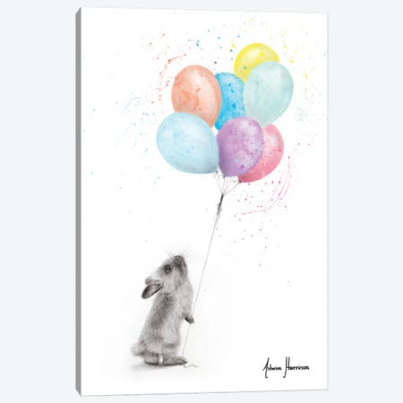 The Bunny And The Balloons Canvas Print #VIN539} by Ashvin Harrison Canvas Art Print