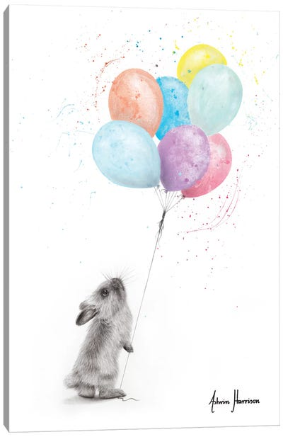 The Bunny And The Balloons Canvas Art Print