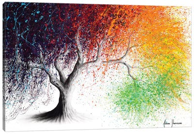 Rainbow Season Tree Canvas Art Print