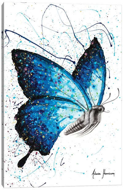 Blue Freedom Butterfly Canvas Art Print