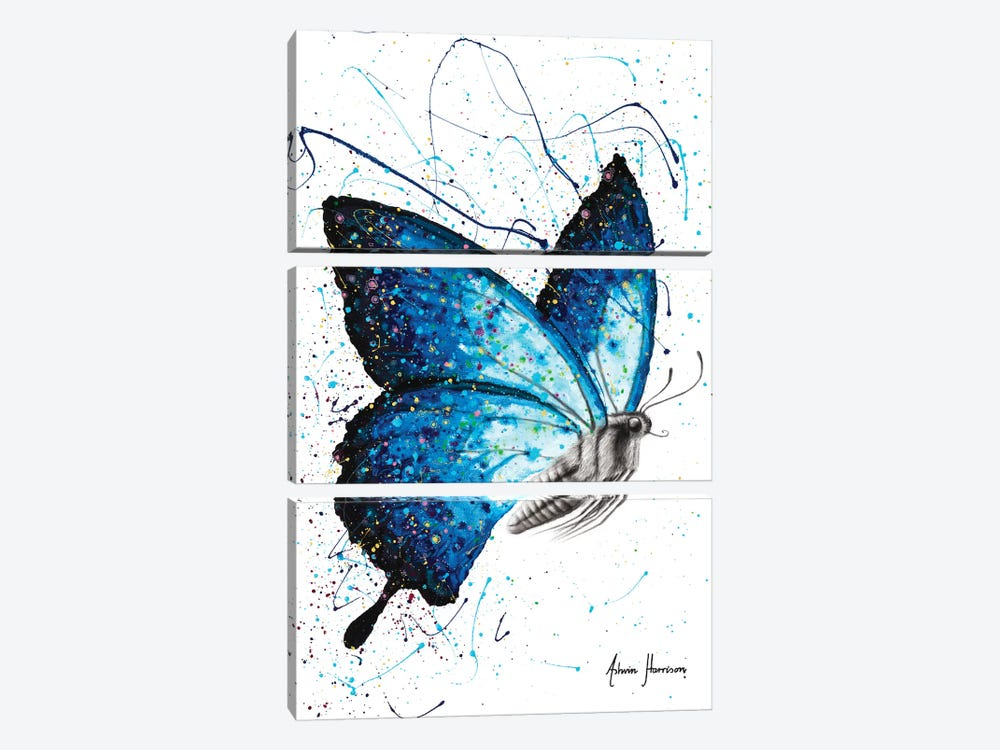 Blue Freedom Butterfly by Ashvin Harrison 3-piece Canvas Artwork