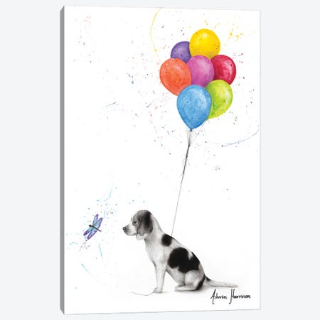 A Dog'S Dragonfly Wish 3-Piece Canvas #VIN614} by Ashvin Harrison Canvas Art Print