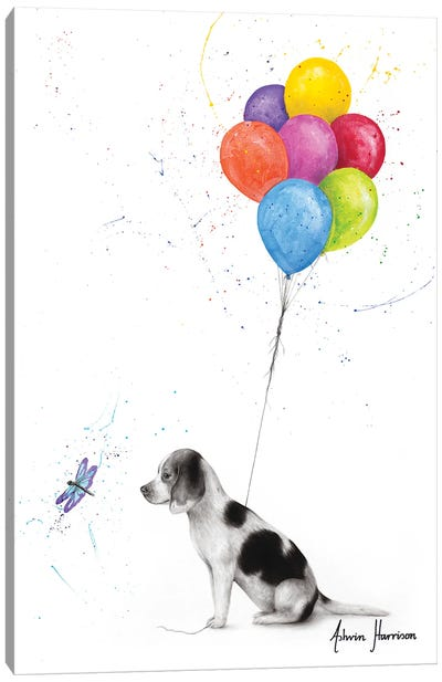 A Dog'S Dragonfly Wish Canvas Art Print