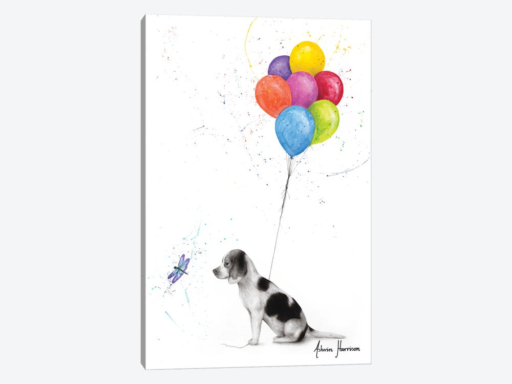 A Dog'S Dragonfly Wish by Ashvin Harrison 1-piece Canvas Art Print