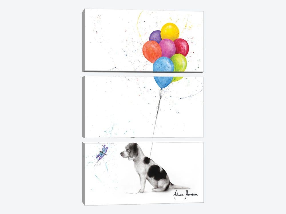 A Dog'S Dragonfly Wish by Ashvin Harrison 3-piece Canvas Print