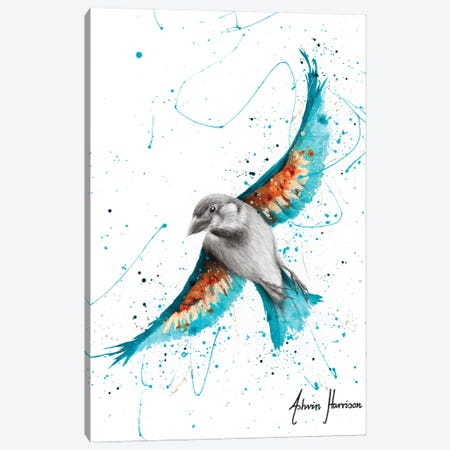 Sunny Turquoise Bird Canvas Print #VIN620} by Ashvin Harrison Canvas Art Print