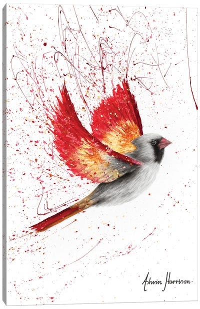 Caring Cardinal Canvas Art Print