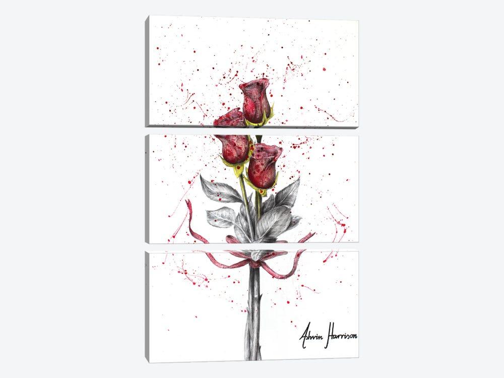 Deep Love Roses by Ashvin Harrison 3-piece Art Print