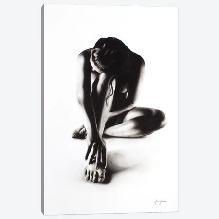Nude Woman Charcoal Study 41 Canvas Print #VIN68} by Ashvin Harrison Art Print