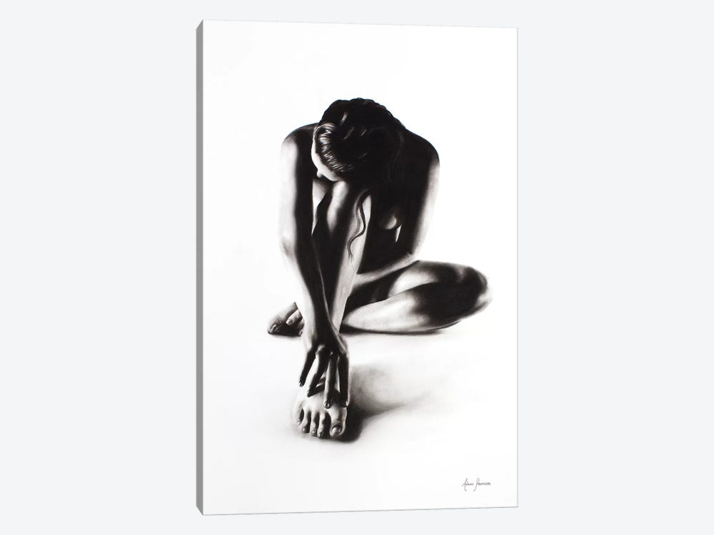Nude Woman Charcoal Study 41 by Ashvin Harrison 1-piece Canvas Art Print