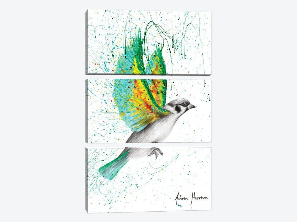 Emerald Shore Bird by Ashvin Harrison 3-piece Canvas Art Print