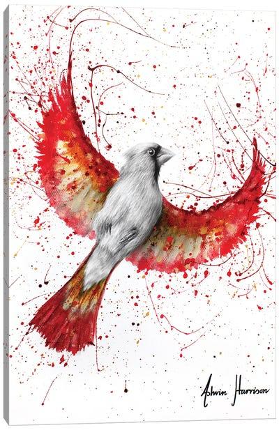 Golden Feather Cardinal Canvas Art Print