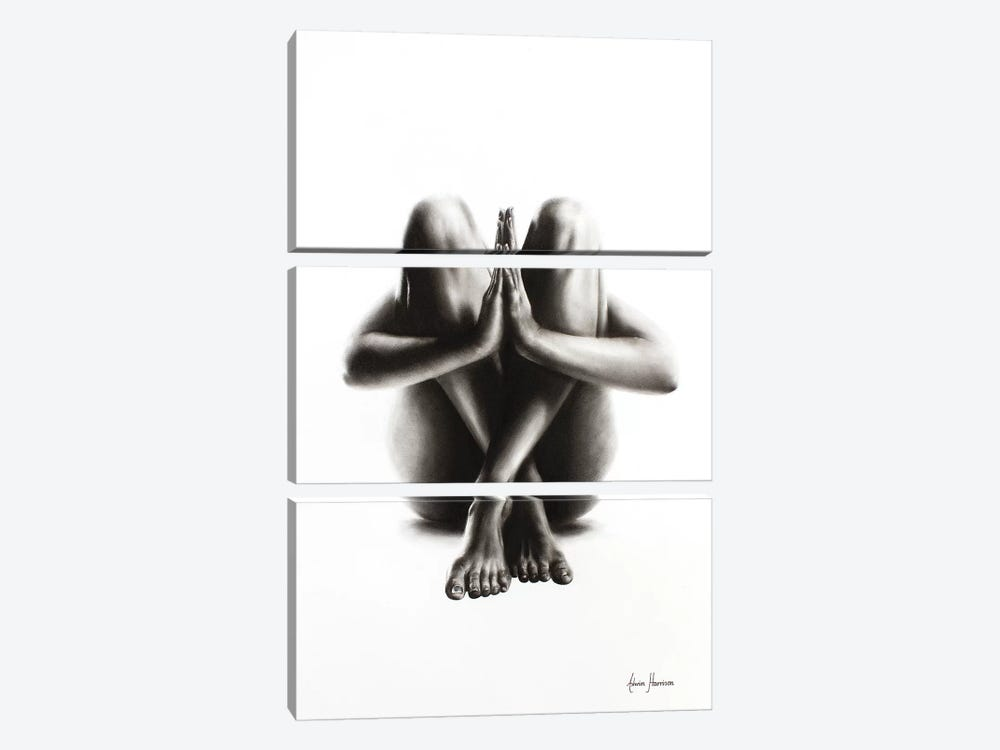 Nude Woman Charcoal Study 48 by Ashvin Harrison 3-piece Canvas Print