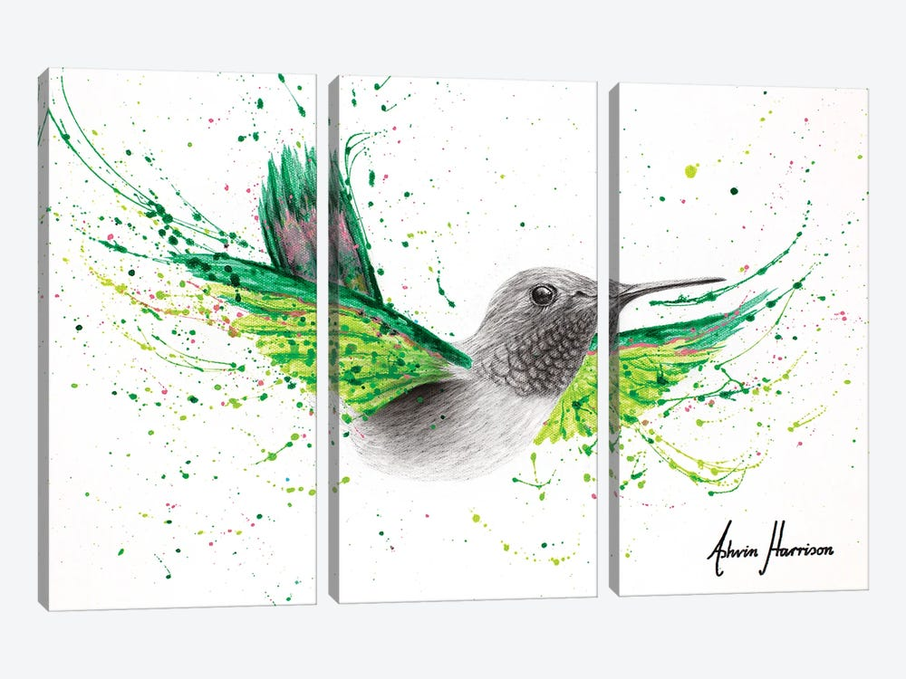 River City Hummingbird by Ashvin Harrison 3-piece Canvas Art Print
