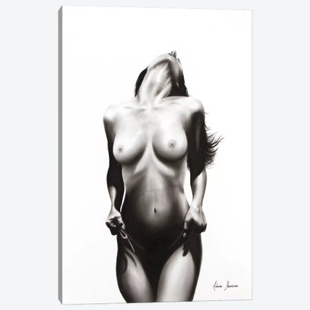 Nude Woman Charcoal Study 53 Canvas Print #VIN75} by Ashvin Harrison Art Print