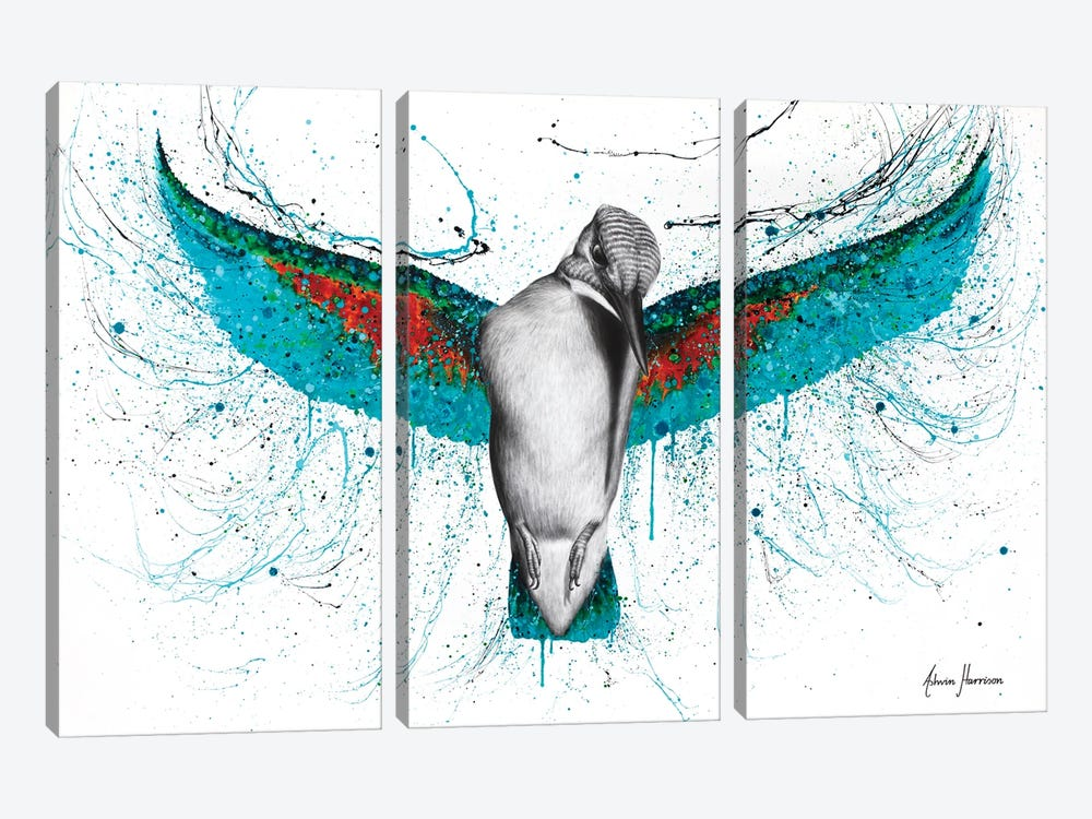 The Kingfisher by Ashvin Harrison 3-piece Canvas Art Print