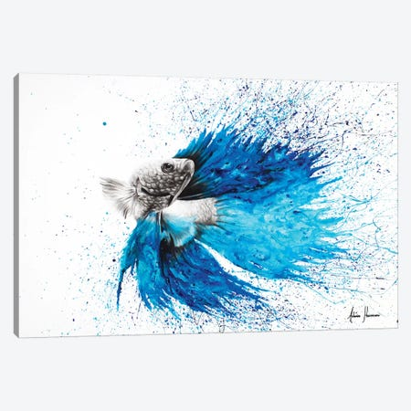 Phthalo Fish Tail Canvas Print #VIN86} by Ashvin Harrison Canvas Art