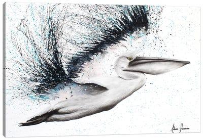 Pink Marble Pelican Canvas Art Print