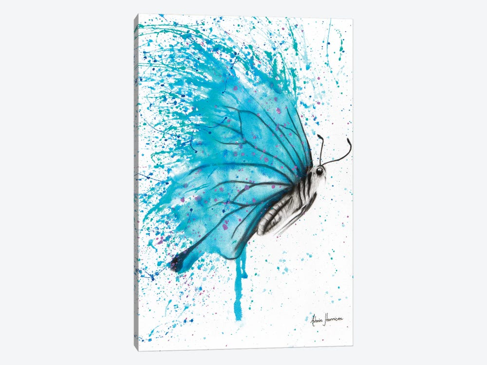 Aqua Butterfly by Ashvin Harrison 1-piece Canvas Wall Art