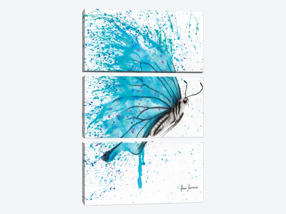 Aqua Butterfly by Ashvin Harrison 3-piece Canvas Art